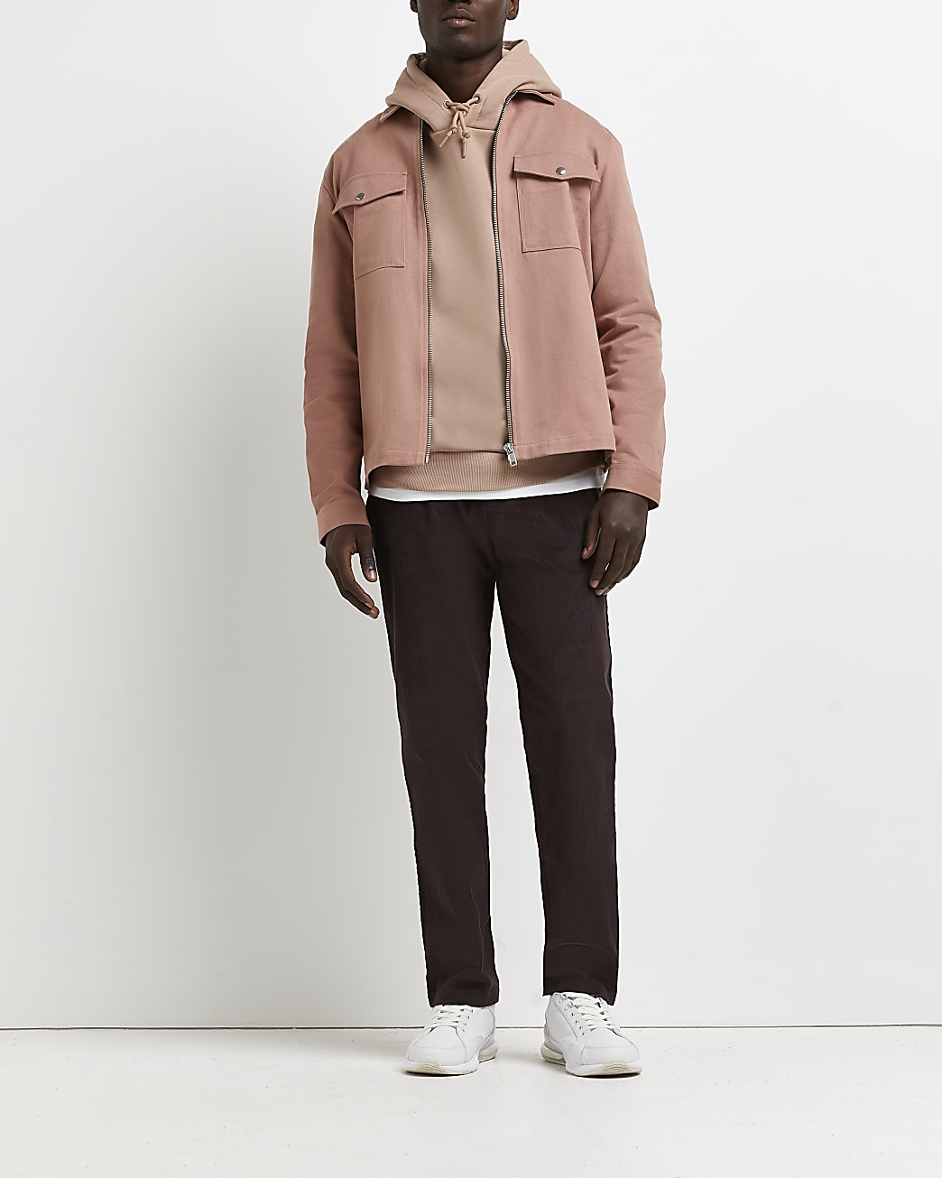 Brown relaxed fit cord trousers