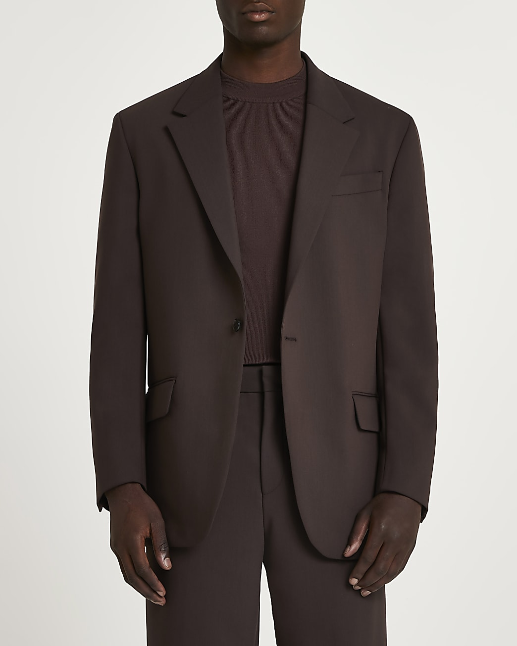 Brown relaxed fit suit jacket