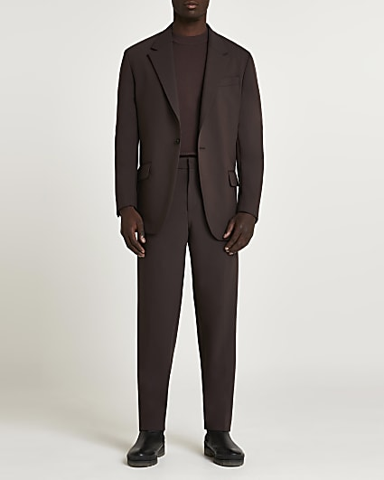 Brown relaxed fit suit trousers