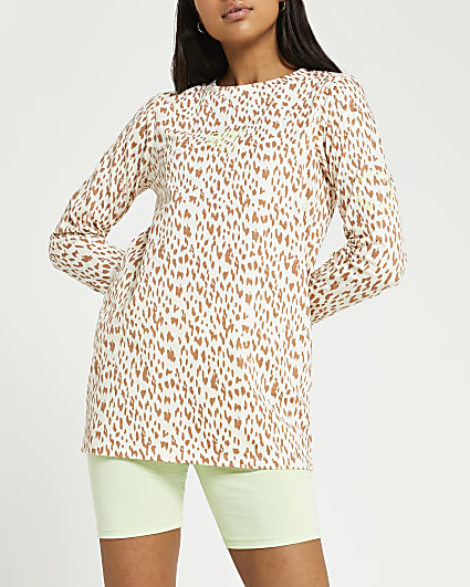 Brown RI Active leopard print t-shirt