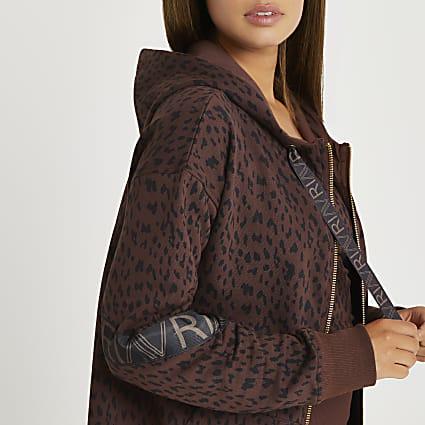 Brown RI Active leopard print zip hoodie