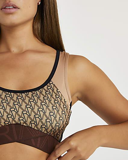 Brown RI Active monogram print sports bra
