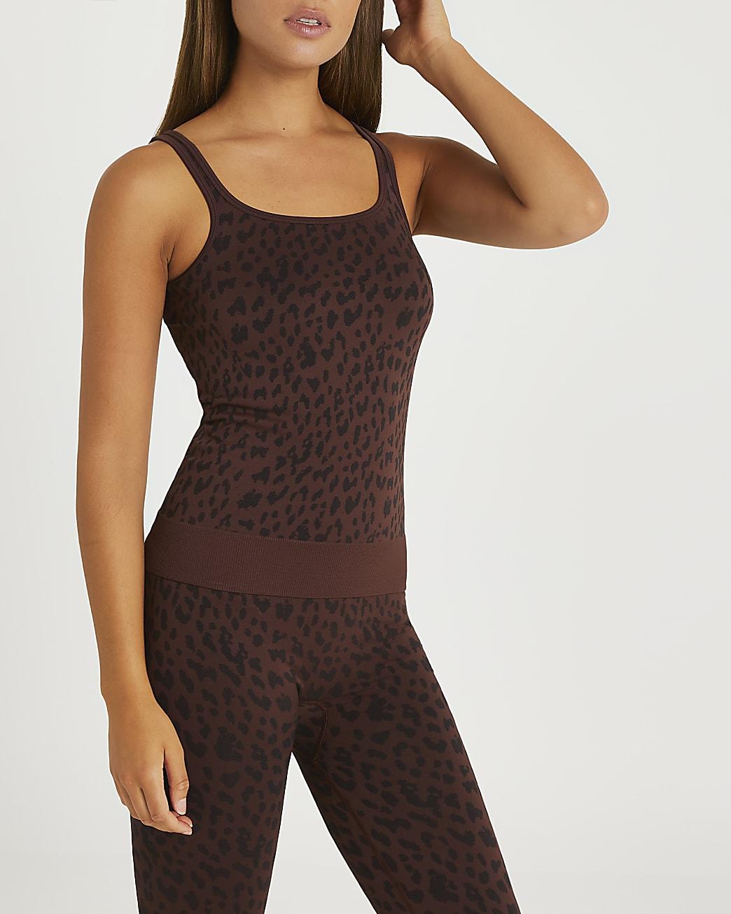 Brown RI Active seamless vest top