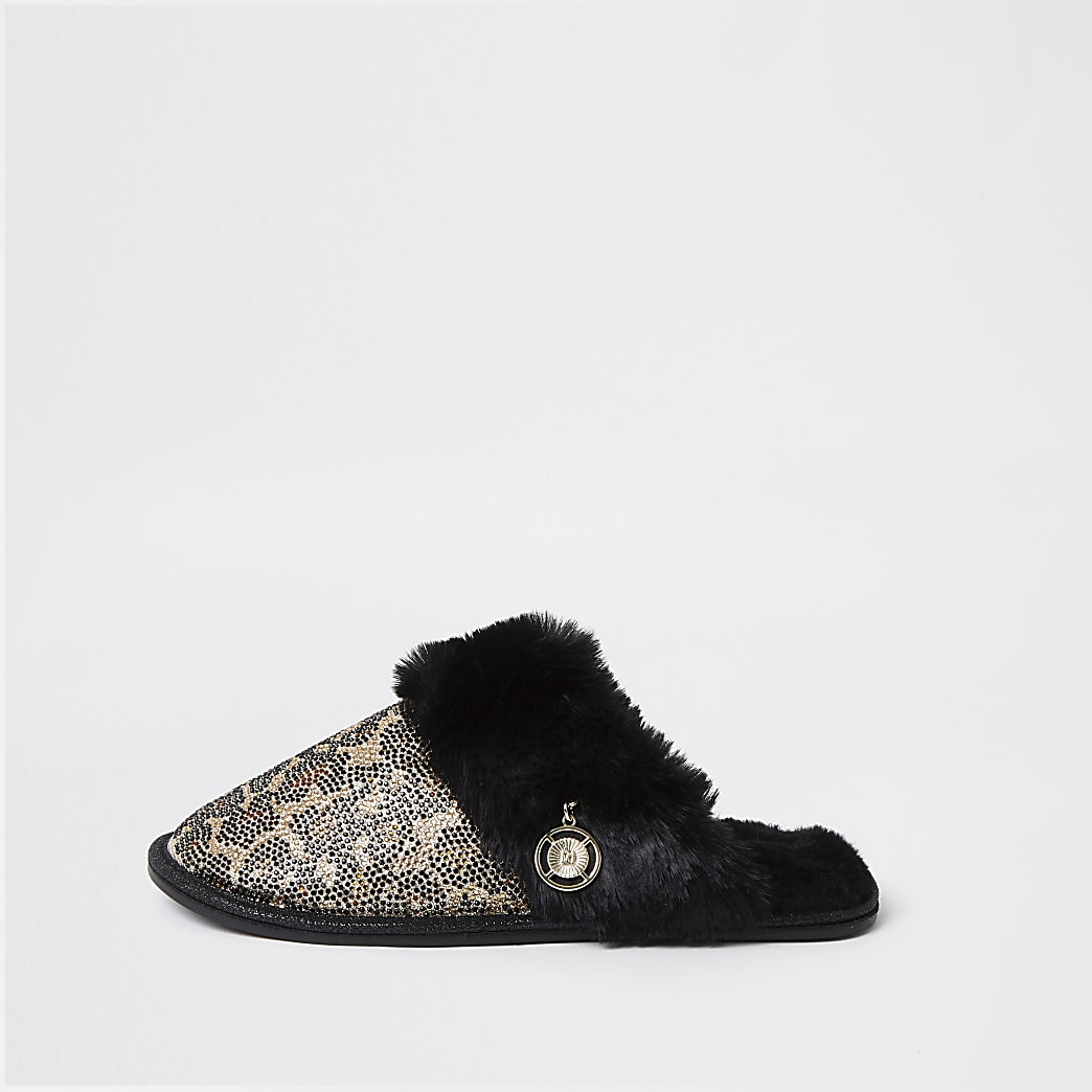 Brown RI animal print faux fur slippers