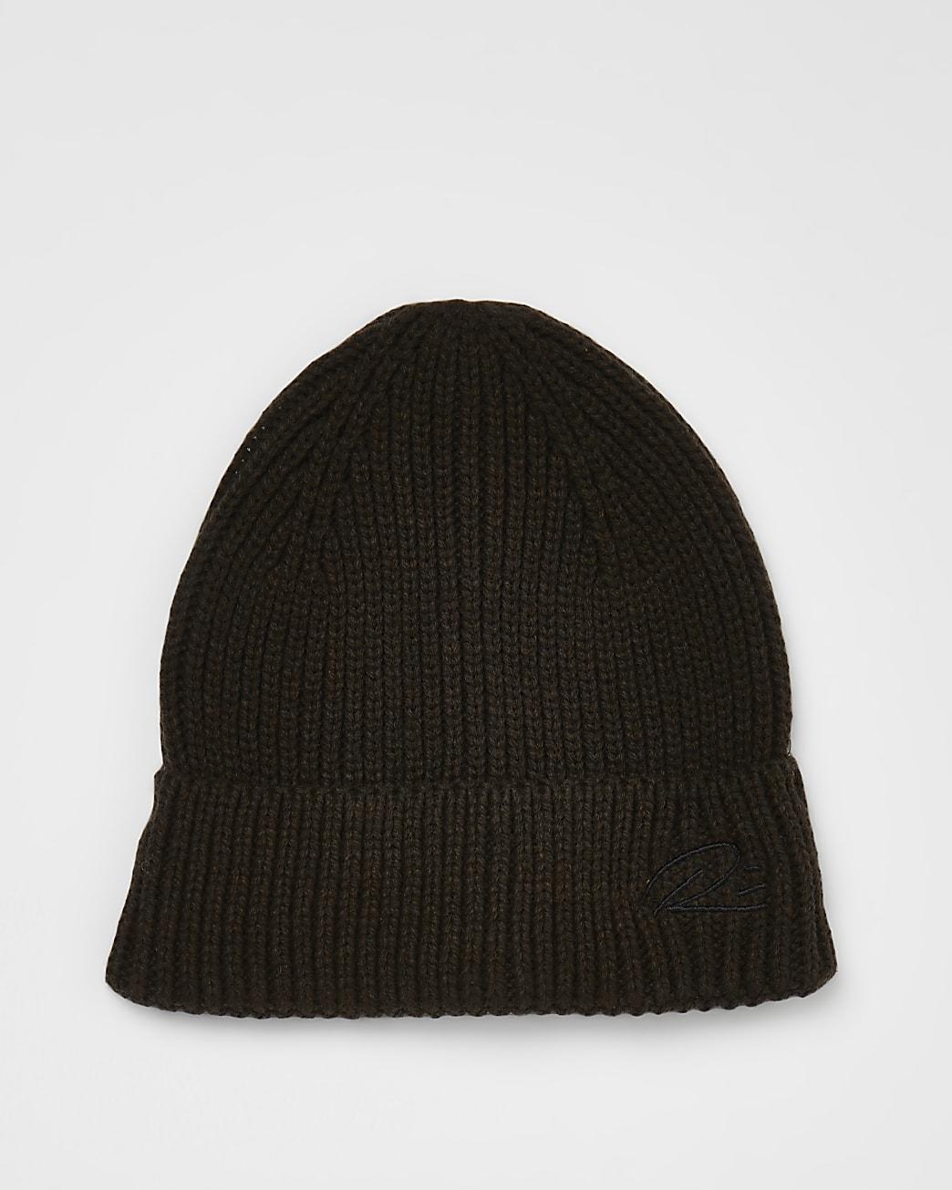 Brown RI branded docker beanie hat