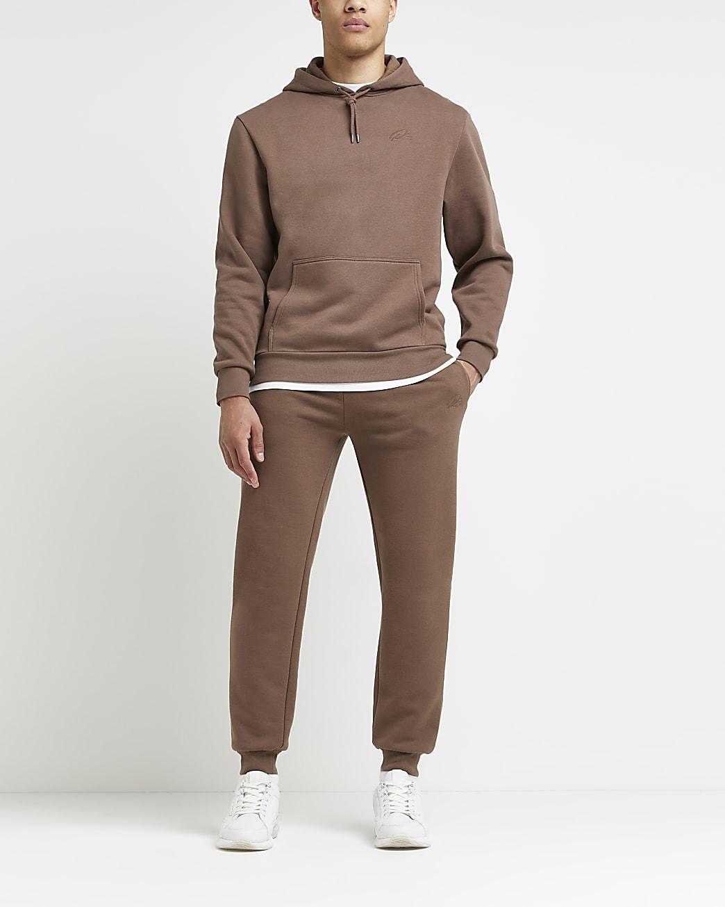 Brown RI branded slim fit hoodie
