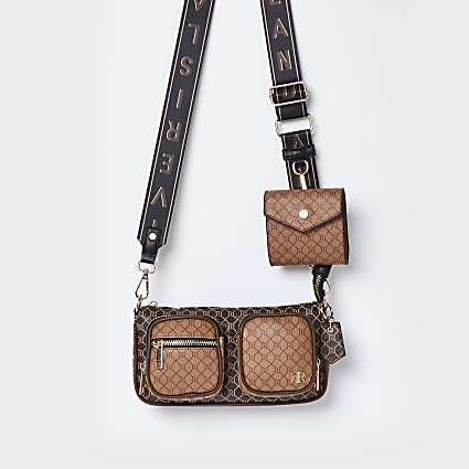 Brown RI double pouchette cross body bag