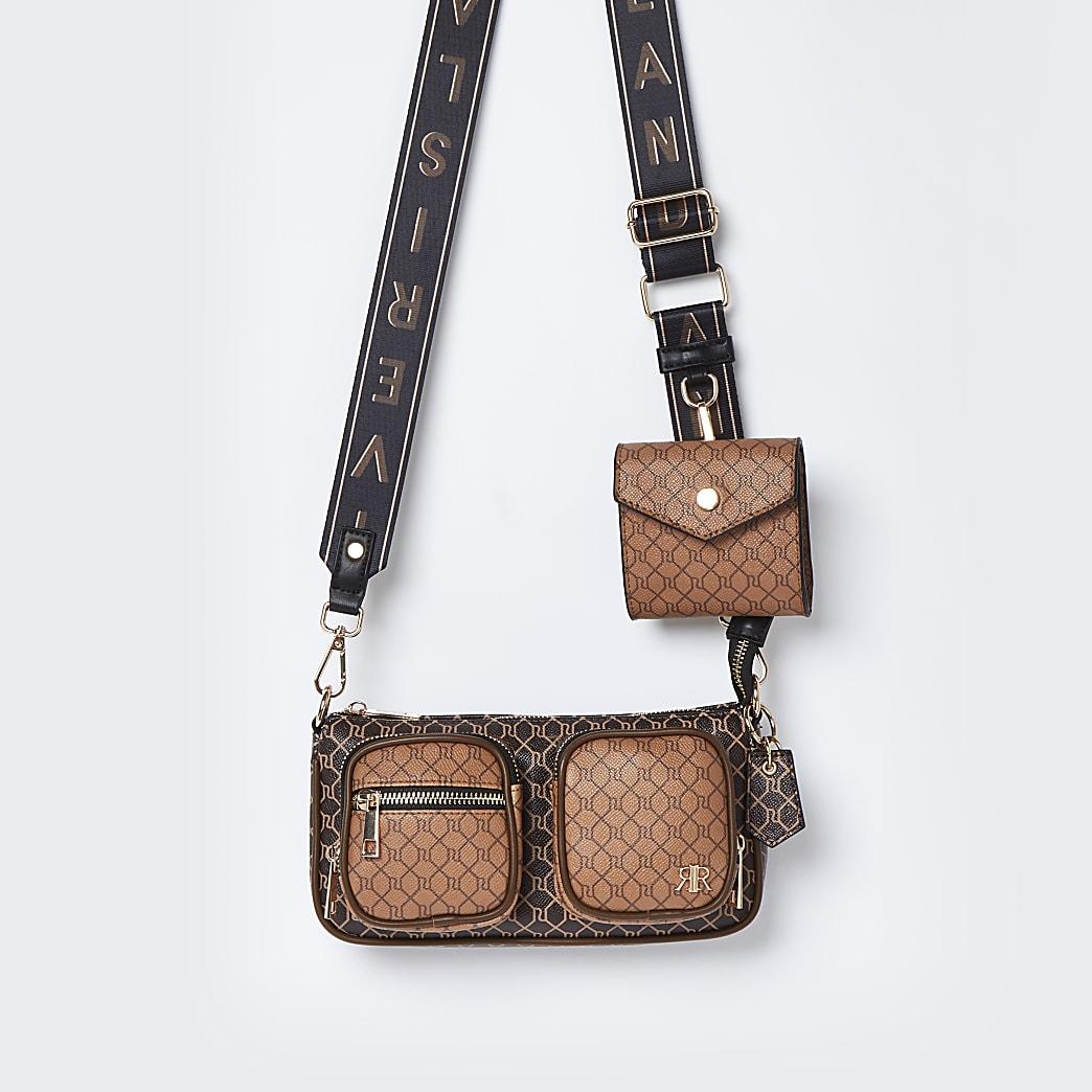 Brown RI double pouchette cross body bag