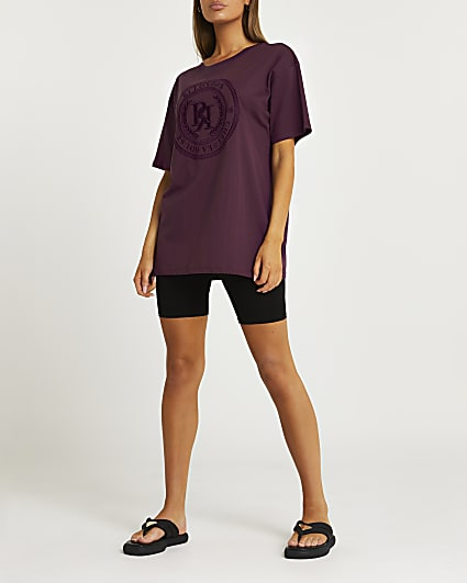 Brown RI embroidered oversized t-shirt
