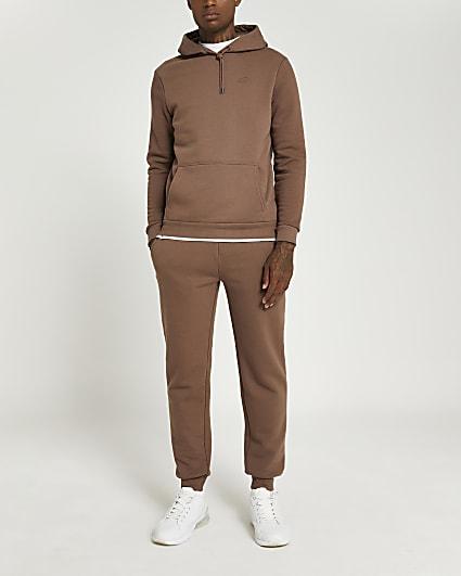 Brown RI embroidered slim fit hoodie
