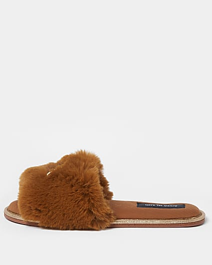 Brown RI faux fur open toe slippers