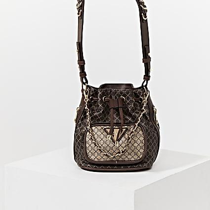 Brown RI faux leather duffle bag