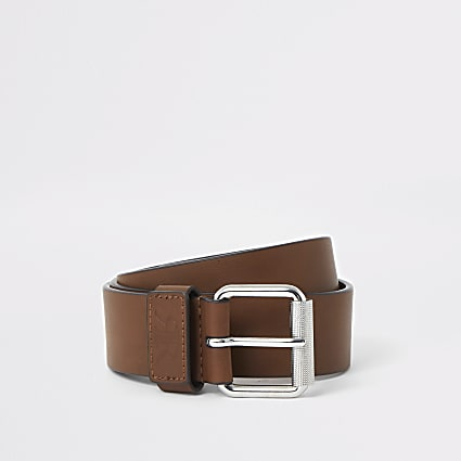 Brown RI faux leather tan belt