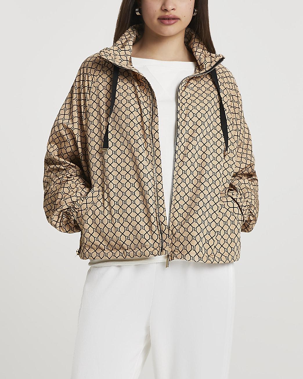 Brown RI hooded windbreaker bag jacket