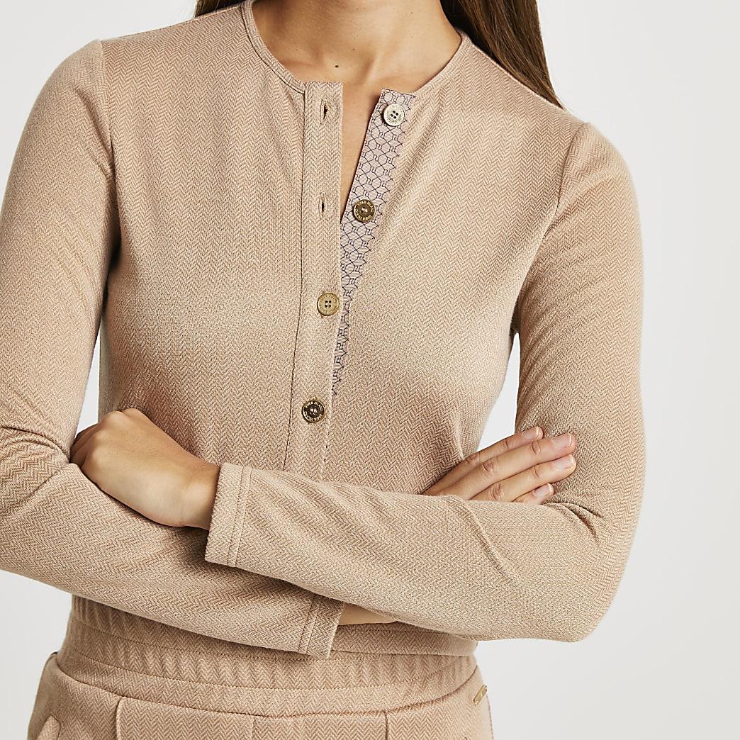 Brown RI jacquard fitted cardigan
