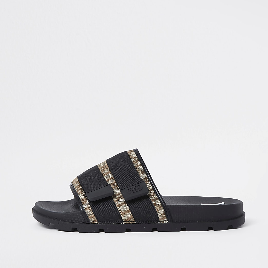 Brown RI jacquard monogram sliders