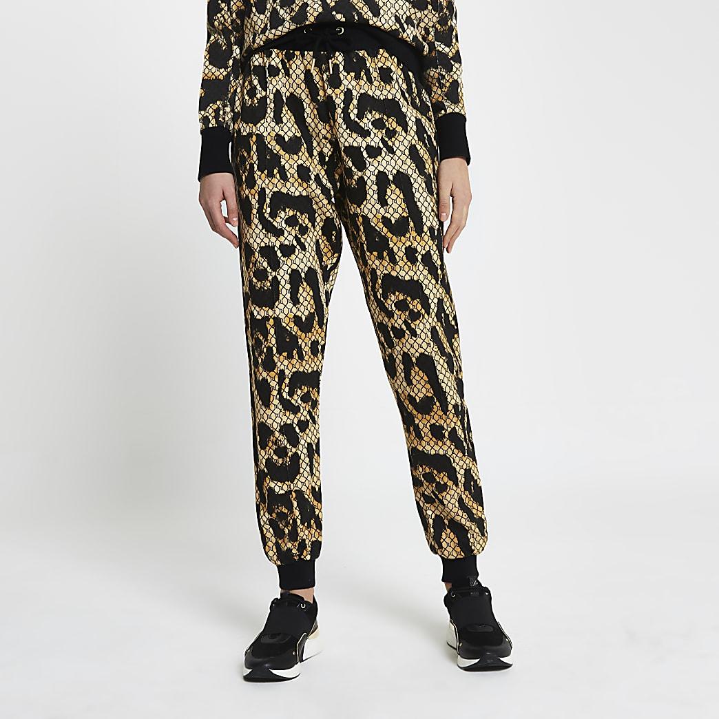 Brown RI leopard monogram print joggers