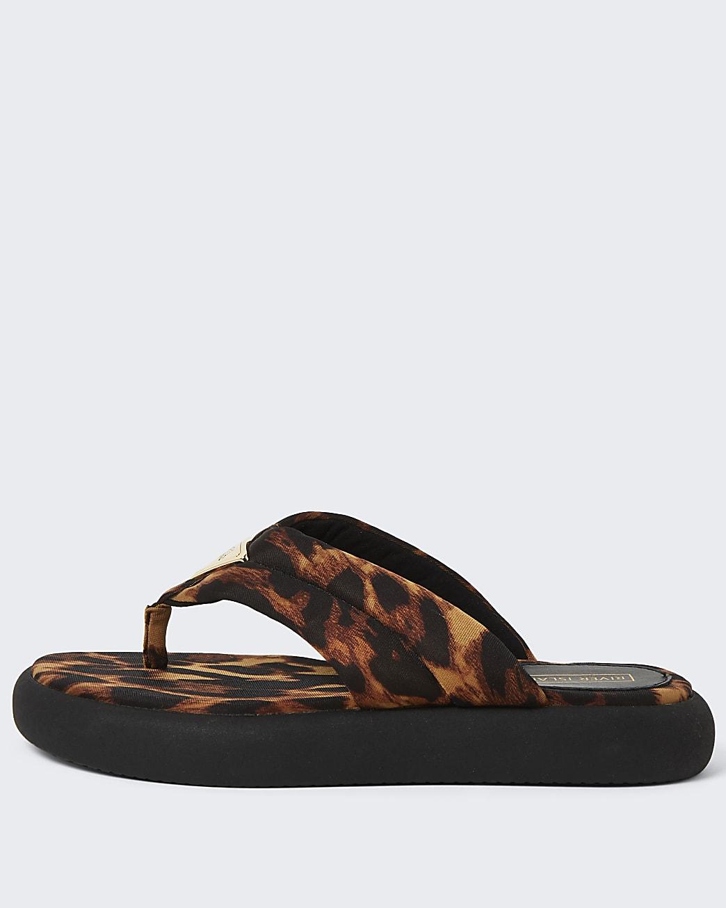 Brown RI leopard print chunky sandals