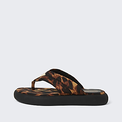 Brown RI leopard print chunky sandals