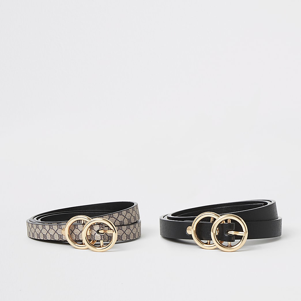 Brown RI mini double ring belt 2 pack