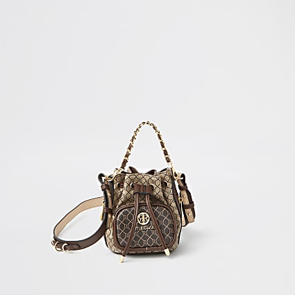 Brown RI mini faux leather duffle bag