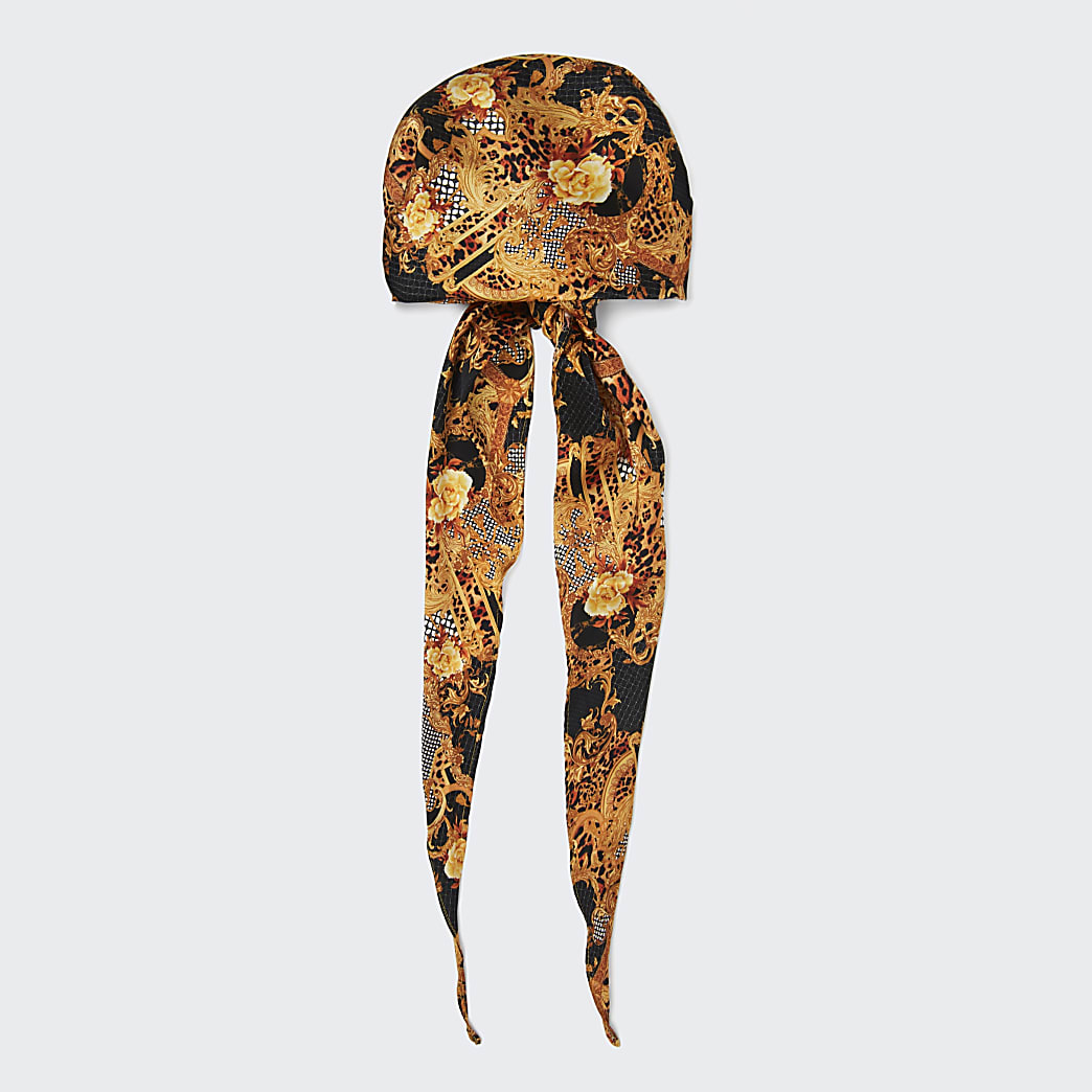 Brown RI monogram animal print headscarf