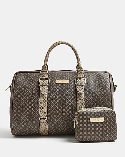 Brown RI monogram barrel bag bundle