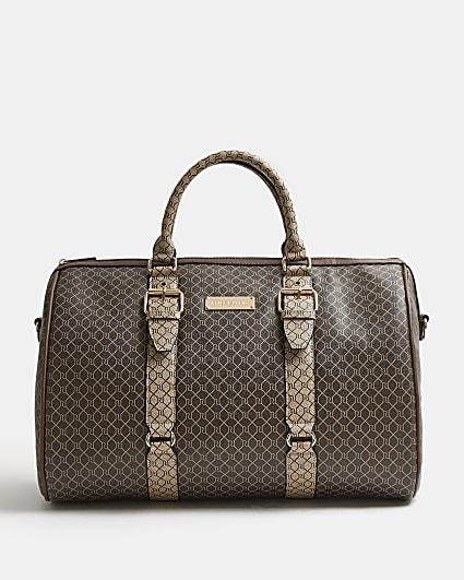 Brown RI monogram barrel bag