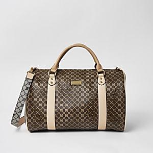Braune Tasche mit RI-Monogramm-Muster