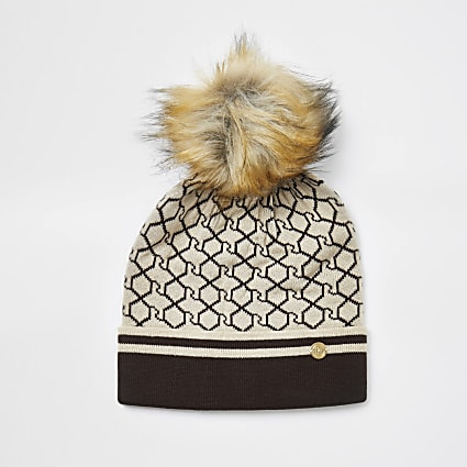 Brown RI monogram beanie hat
