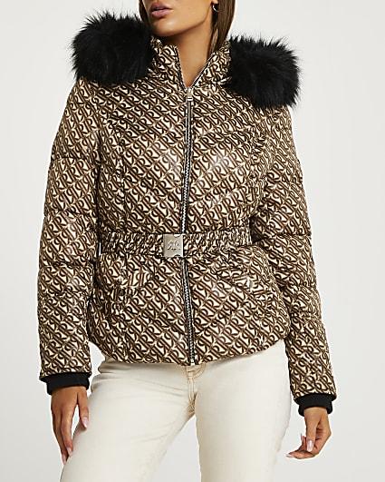 Brown RI monogram belted puffer coat