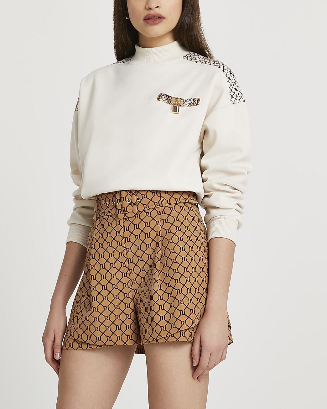 Brown RI monogram belted shorts
