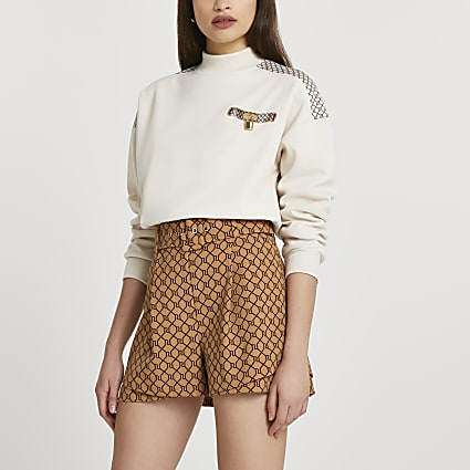 Brown RI monogram belted shorts