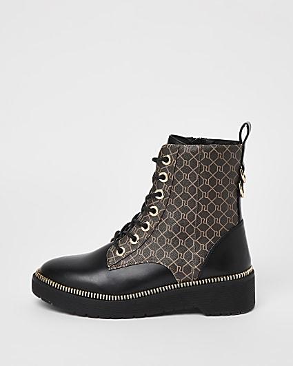 Brown RI monogram chunky boots