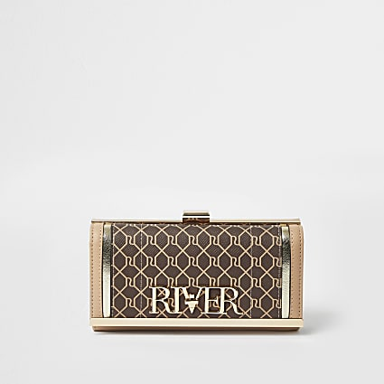 Brown RI monogram cliptop purse