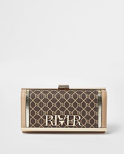 Brown RI monogram cliptop purse