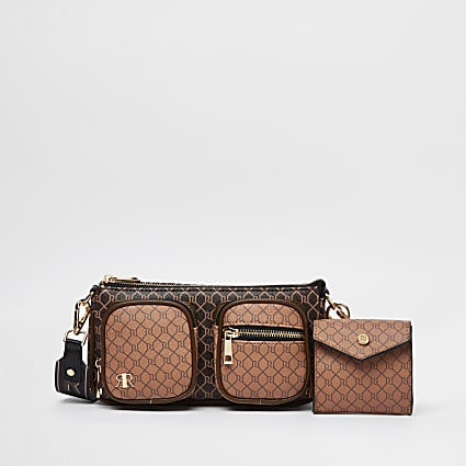 Brown RI monogram cross body bag with pouch