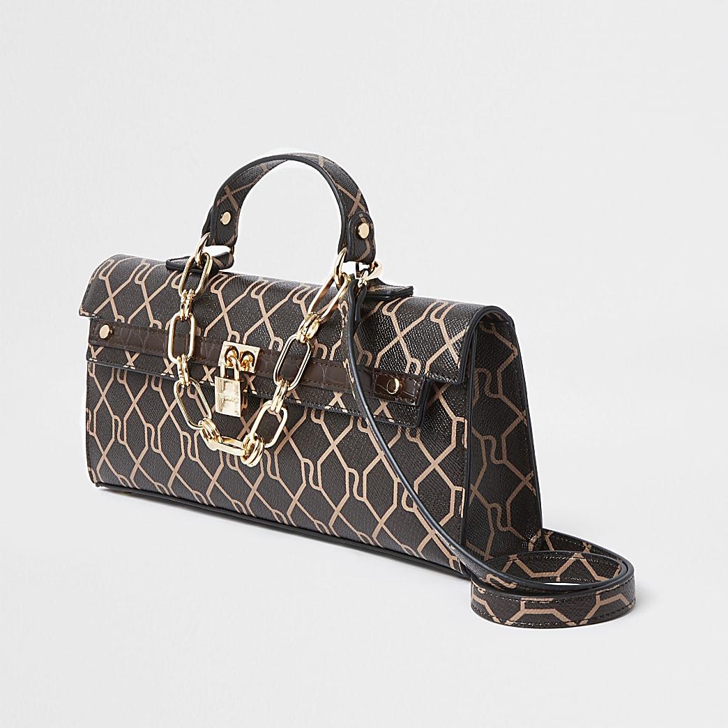 Brown RI monogram cross body handbag