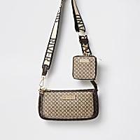Brown RI monogram crossbody bag