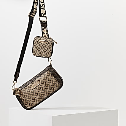 Brown RI monogram crossbody bag