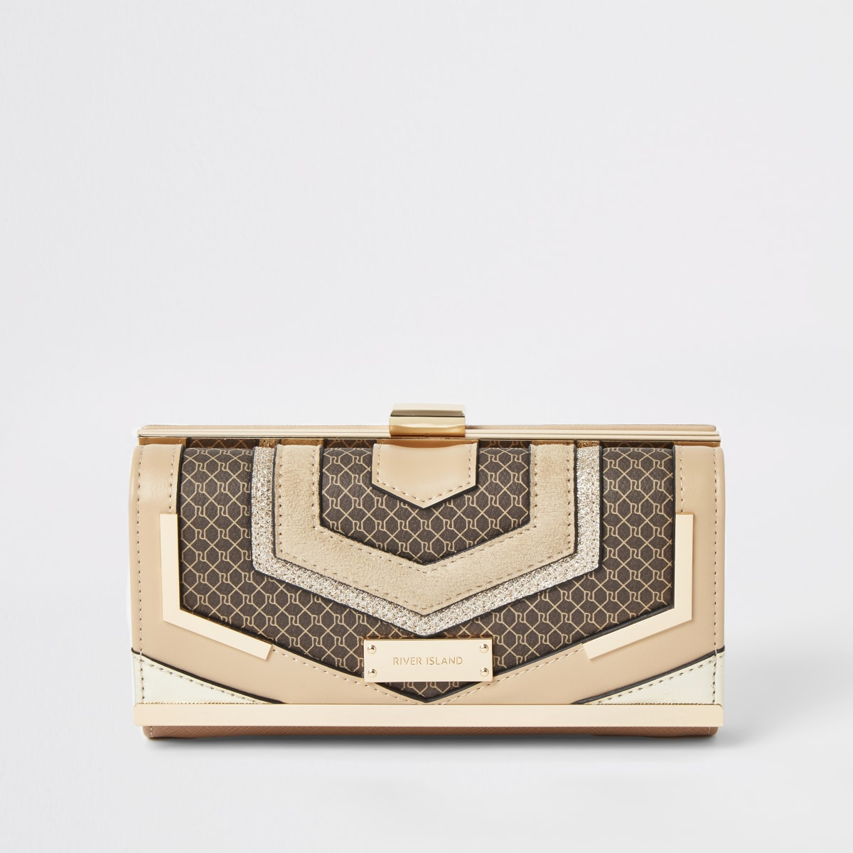 Brown RI monogram cutabout cliptop purse
