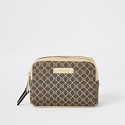 Brown RI monogram double zip top make-up bag