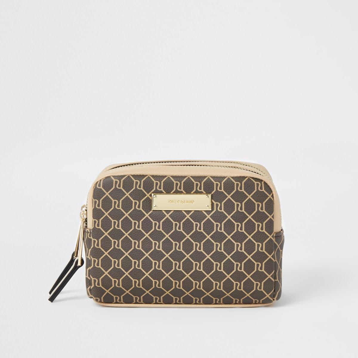 Brown RI monogram double zip top make-up bag