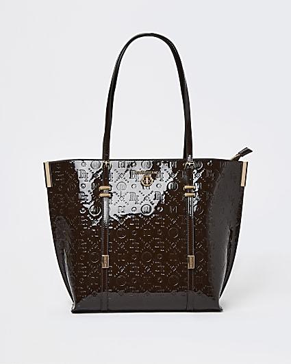 Brown RI monogram embossed shopper bag