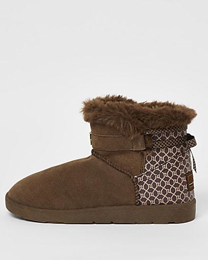 Brown RI monogram faux fur lined boots