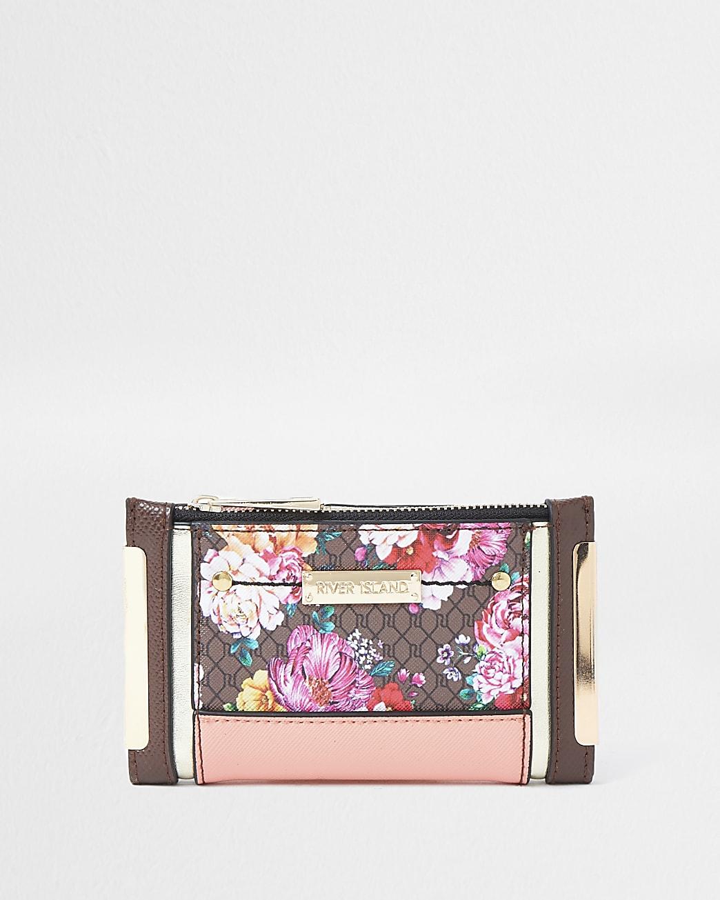 Brown RI monogram floral foldout purse