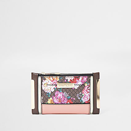 Brown RI monogram floral foldout purse