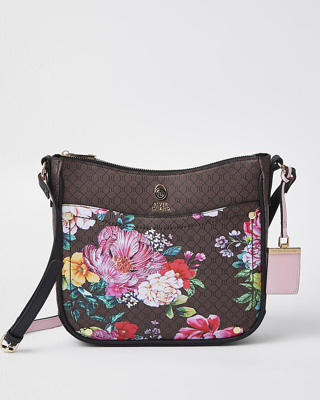 Brown RI monogram floral messenger bag