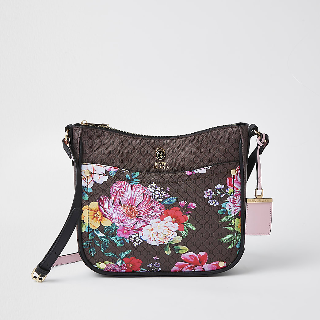 Brown RI monogram floral messenger bag