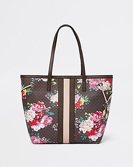 Brown RI monogram floral shopper bag